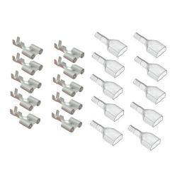 Cosse - Femelle a sertir - Double + protection  (x10) - Ronde 4 mm -