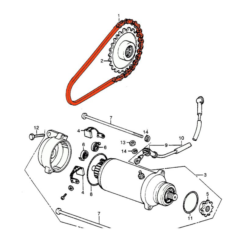 Demarreur - Chaine - CB450K - CB500T - 56 maillons